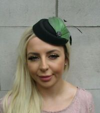 Black Olive Green Khaki Feather Pillbox Hat Hair Clip Fascinator Wedding 0670