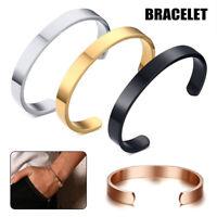 Simple Design Open Cuff Bangle Stainless Steel Bracelet Women Men's Jewelry