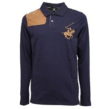 4190K polo uomo BEVERLY HILLS POLO CLUB blue cotton t-shirt man