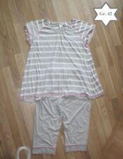 Damen Schlafanzug, 2 teilig, Pyjama Gr. 42, lange Hose, Kurzarm