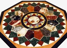 "24"" Black Marble Centre Cofffee Table Top Elegant Multi Marquetry Inlay Art E488"