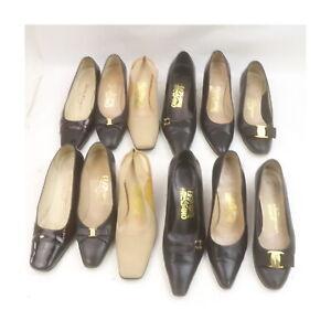 Ferragamo Leather Enamel Canvas Pumps 6 pairs set 525214