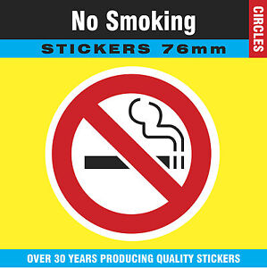 Pack of 20 No Smoking Stickers Labels Signs - 76mm Circles