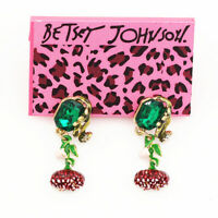 Betsey Johnson Enamel Crystal Flower Charm Earbob Dangle Women's Earrings Gift