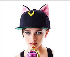 Sailor Moon Artemis Luna Cat Ears Cute Baseball Hat Cap Costumes Cosplay Black