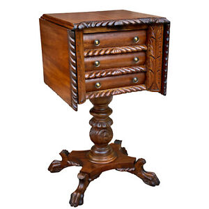 Antique Victorian Carved Mahogany Drop Leaf Pembroke Side Table Chest