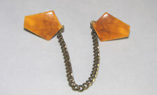 Vintage SWEATER CLIPS or Guard with WOOD Pentagons on a Silvertone Chain