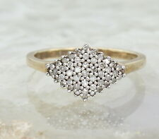 9CT GOLD DIAMOND BOAT RING SIZE O, ENGAGEMENT, DIAMOND SHAPE CLUSTER, 0.5CT DIA