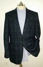 38S Black Watch Tartan Plaid Norfolk WOOL SAFARI Tweed Blazer Jacket Sport Coat