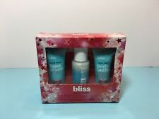 BLISS - BERRY BRIGHT - CLEANSING AND MOISTURIZING TRIO - 1.0 OZ - NEW & BOXED