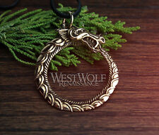 Viking Ouroboros Sea-Serpent Pendant -- Norse/Medieval/Skyrim/Dragon/Gold/Bronze
