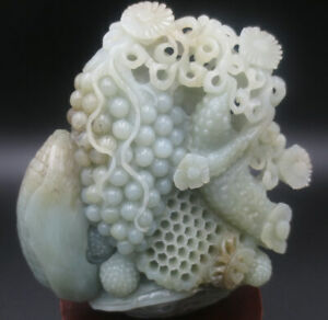 Detailed ~ Nephrite Jade Agriculture Harvest Season-Corn,Grapes,Cucumber Carving