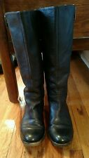 "Black Leather Naya Knee High Boots 1"" Heel Size 5.5 M"