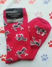 🦓🦓🦓🦓 Banana Republic Cute Zebra Red Women's Trouser Socks Nwt Black White 🦓