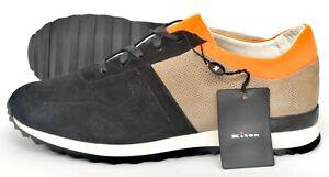 NIB $1190 KITON Fair Black Orange Suede & Leather Low Tops Sneakers Shoes 8 (41)
