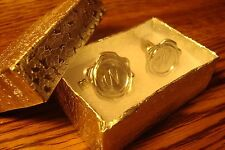 """Cufflinks 1 Pair (Two) * Silver Plated """" W """" Monogram Faux Wax Seal design"""