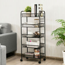 5 Tier Shelves Kitchen Rolling Rack Storage Tool Cart Utility Trolley with Wheel