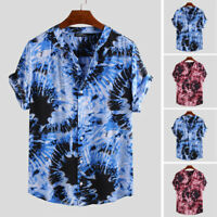 Mens Casual Short Sleeve Colorful Tie-dye Printed T Shirt Beach Button Tees Tops