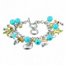 Alloy Fashion Fantasy Blue Glass Beads Pearl Pink Flower Marine Charm Br