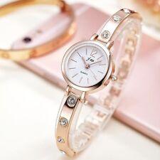 Rose Gold Round Face Women`s Fashion Dress Rhinestone Quartz Bracelet Watches