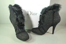 Dior 36.5 Black Suede Embroidered Metallic Brocade Fur Ankle Boot Booties NEW