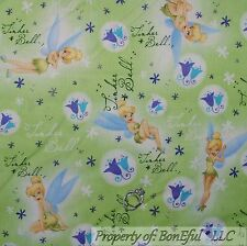 BonEful Fabric FQ Cotton Quilt Green Fairy Princess Disney Tinkerbell Flower Dot