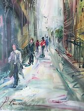 """City Streets Figures Hand Painted 24""""x36 Oil Art Signed"""