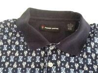 Power Swing Mens Golf Polo Shirt Short Sleeve Blue Clubs Logo Pattern Cotton L