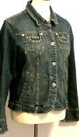 Ethyl women's Medium metal studded button up denim blue jean jacket