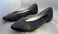 Ladies Marwan Closed Toe Flat Heel Black Shoe With Gem Detail Uk 4 EU 37