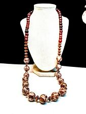 Artisan Deep Red Brown Marble & Vintage Red Glass & Copper Beaded Necklace
