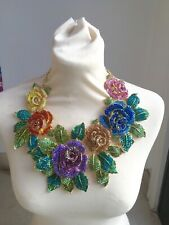 Butler and Wilson XXL COUTURE Multi Crystal Rose Flower Necklace NEW