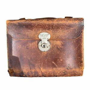 1880s Leather Foldout Doctor Profession Mining Satchel Bag
