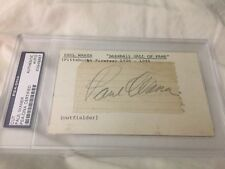 Paul Waner Autographed Signed 2x3 Cut On HOF 3x5 Index Card PSA/DNA