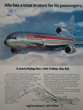 8/1981 PUB LOCKHEED L-1011 TRISTAR ALIA ROYAL JORDANIAN AIRLINE ORIGINAL AD