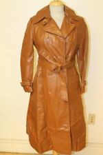 WOMENS VINTAGE BRONZE BROWN LEATHER BELTED DOUBLE BREASTED TRENCH COAT/JACKET M