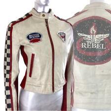 Biker Jacket Leather Motor Moto Club Rare Vintage Wilson's REBEL Gold  XS UK 6 8