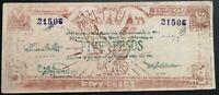 Billete militar de emergencia Cagayan de Filipinas 5 pesos de 1944