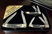 LOT 3 STAG UNCLE HENRY POCKET KNIVES W/ KNIFE DISPLAY CASE SCHRADE  L.E !!!