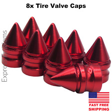 8x Spike Tire Valve Stem Caps For Car, Truck Universal Fitting (Red)