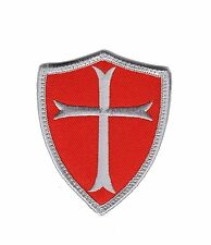 Knights Templar Cross Shield Tactical morale Hook Patch Red