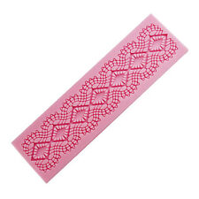 Silicone Embossing Mold Gum Paste Fondant Cake Lace Border Icing Decorate Mat