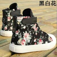Casual Womens Sneakers Canvas Floral Flat Heel Sweet Girl High Top Shoes Size uk