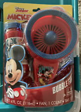 DISNEY JUNIOR MICKEY MOUSE BUBBLE FAN WITH BUBBLE SOLUTION & DIPPING TRAY