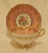 Vintage EB Foley Fine Bone China Tea cup & Saucer*Gold and Pink*Roses*England