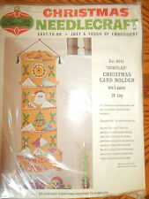 VINTAGE BUCILLA NEW FELT APPLIQUE EMBROIDERY Kit HOLIDAY MAIL Cardholder 8041