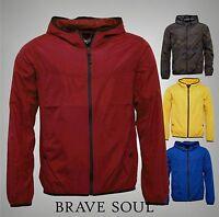 Mens Branded Brave Soul Full Zip Lightweight Hooded Windbreaker Jacket Size S-XL
