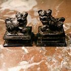 Pair Chinese Black Hard Stone Carved Miniature Foo Dogs
