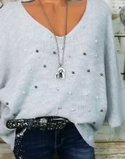 Trendy Herbst Winter Italy Blogger Strick Pullover Pulli Perlen Grau M L XL