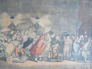 George F. Byron Rare 1800 Caricature Etchings. A Calais Inn + A Country Theatre